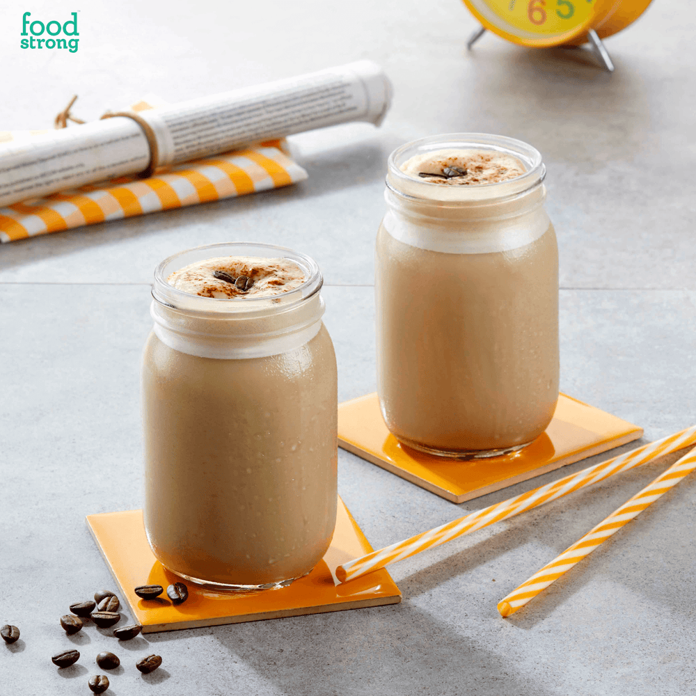 foodstrong daily protein cold coffee shake made with antibiotic free grassfed whey
