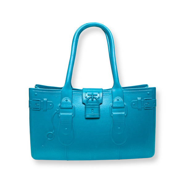 Model M. Aquamarine - Blue Tote Accessory (front view) Great Bag Co. | A Robert Verdi Project #FashionFlex #GreatBag