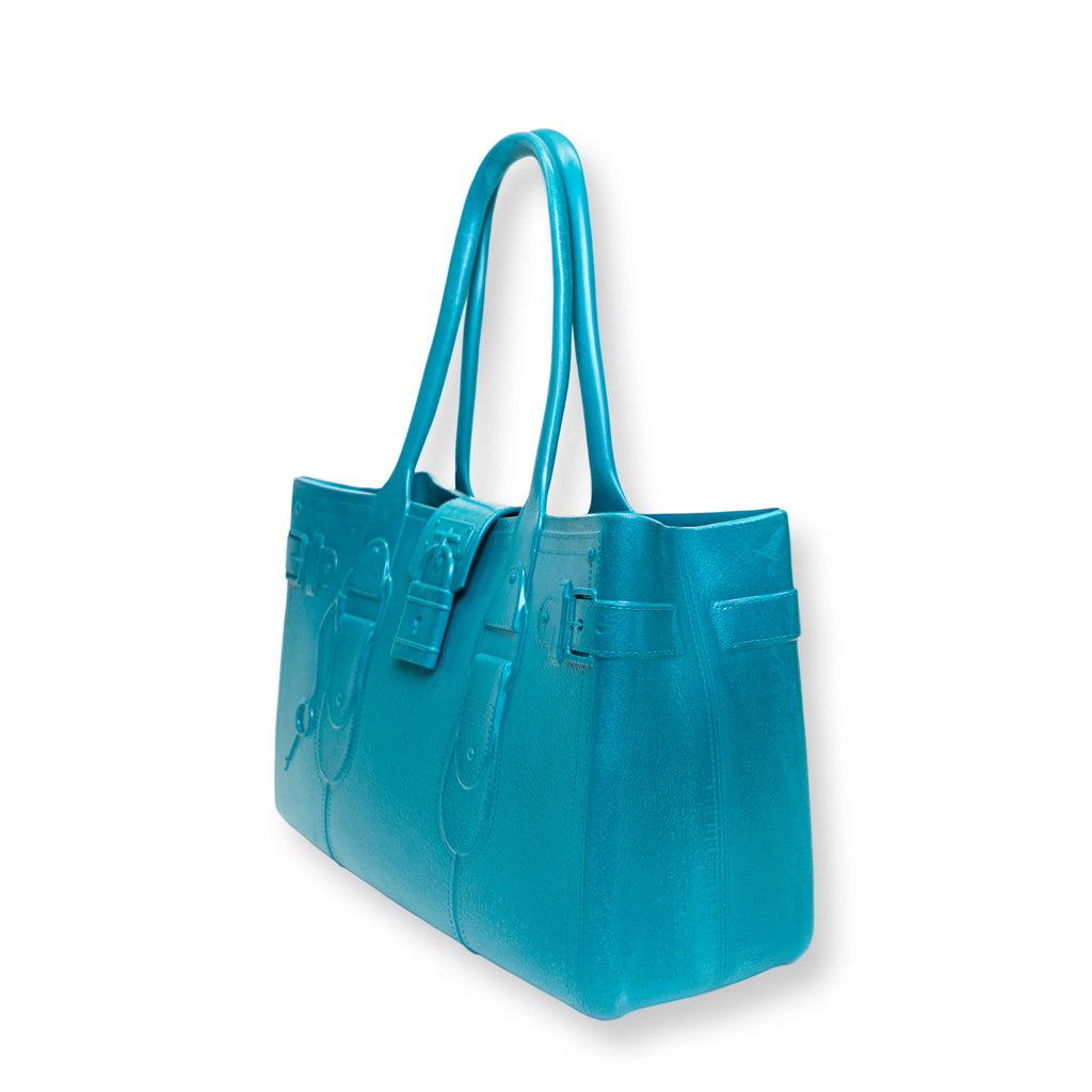 Model M. Aquamarine - Blue Tote Accessory (side view) Great Bag Co. | A Robert Verdi Project #FashionFlex #GreatBag