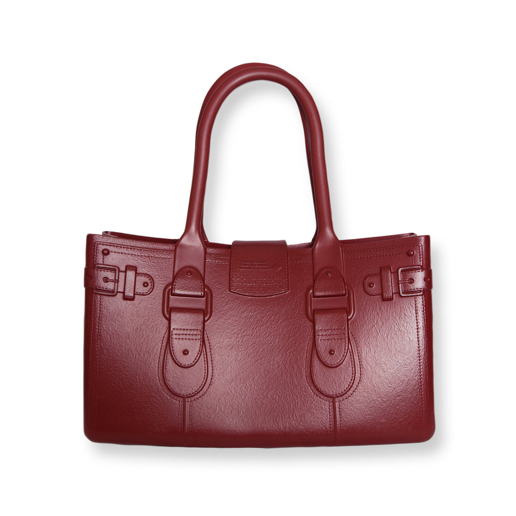 Model M. Garnet - Oxblood Red Tote Accessory (back view) Great Bag Co. | A Robert Verdi Project #FashionFlex #GreatBag