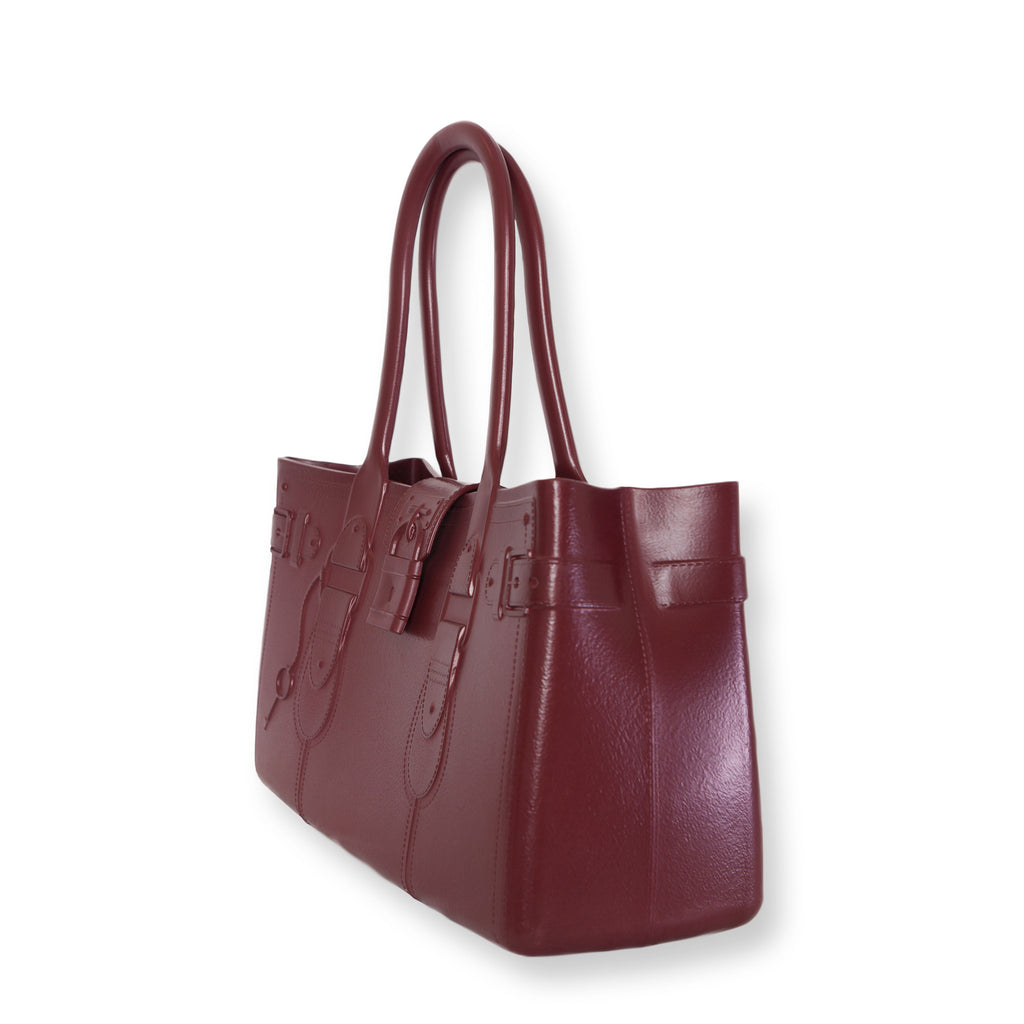 Model M. Garnet - Oxblood Red Tote Accessory (side view) Great Bag Co. | A Robert Verdi Project #FashionFlex #GreatBag
