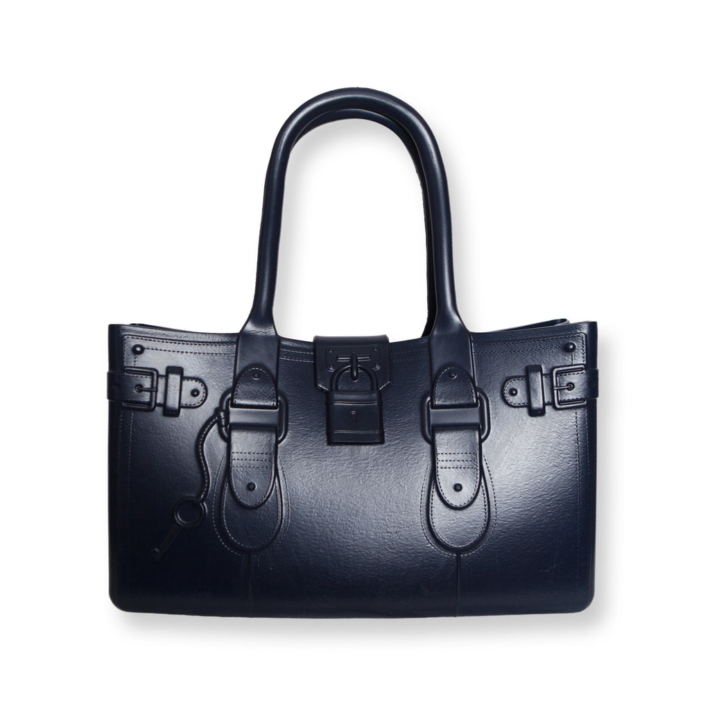 Model M. Sapphire - Navy Blue Tote Accessory (front view) Great Bag Co. | A Robert Verdi Project #FashionFlex #GreatBag