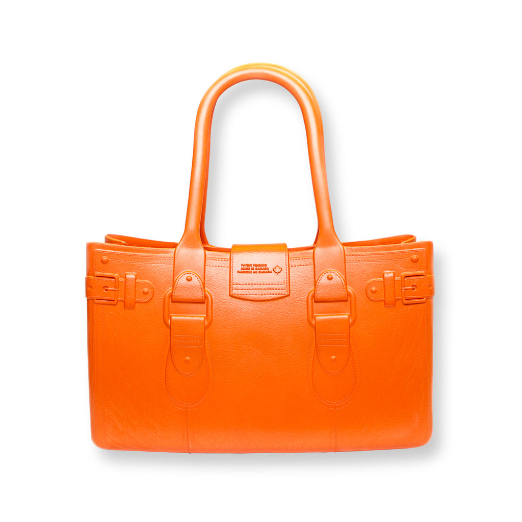 Model M. Topaz - Orange Tote Accessory (back view) Great Bag Co. | A Robert Verdi Project #FashionFlex #GreatBag