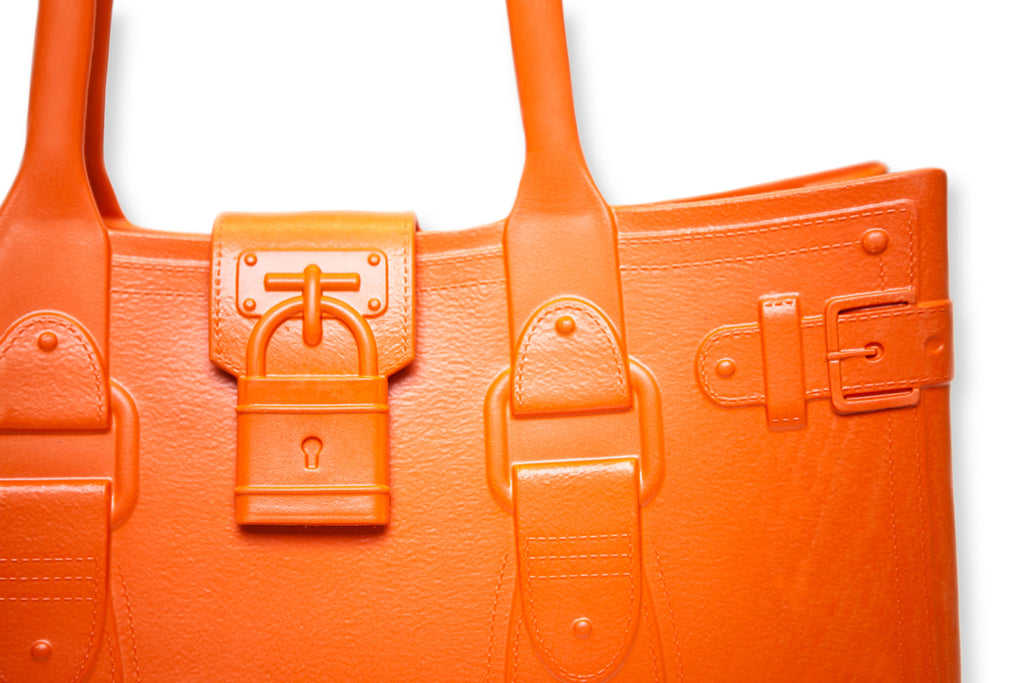 Model M. Topaz - Orange Tote Accessory (detail view) Great Bag Co. | A Robert Verdi Project #FashionFlex #GreatBag