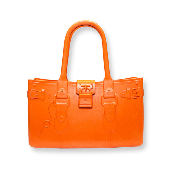 Model M. Topaz - Orange Tote Accessory (front view) Great Bag Co. | A Robert Verdi Project #FashionFlex #GreatBag