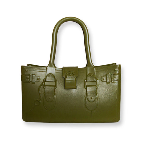 Model M. Peridot - Army Green Tote Accessory (front view) Great Bag Co. | A Robert Verdi Project #FashionFlex #GreatBag