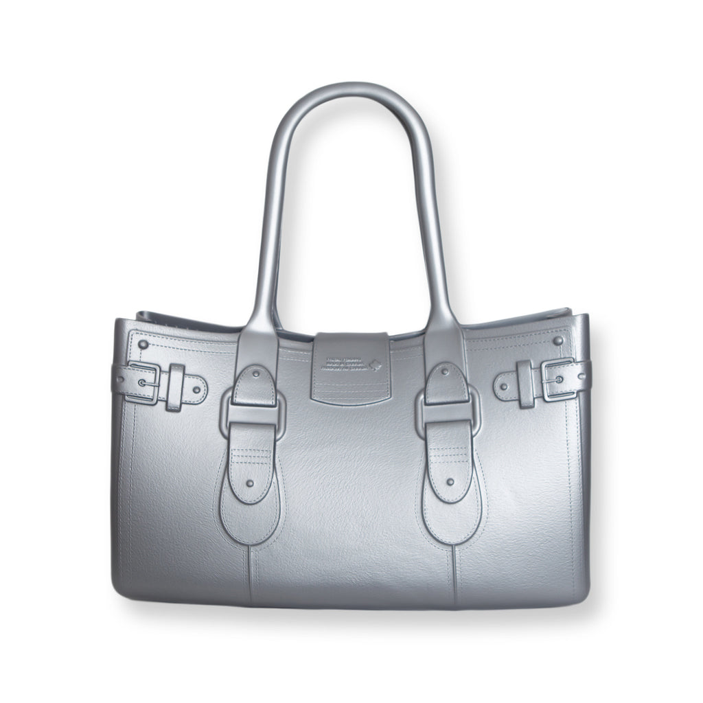 Model M. Platinum - Silver Tote Accessory (back view) Great Bag Co. | A Robert Verdi Project #FashionFlex #GreatBag