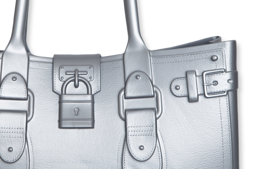 Model M. Platinum - Silver Tote Accessory (detail view) Great Bag Co. | A Robert Verdi Project #FashionFlex #GreatBag