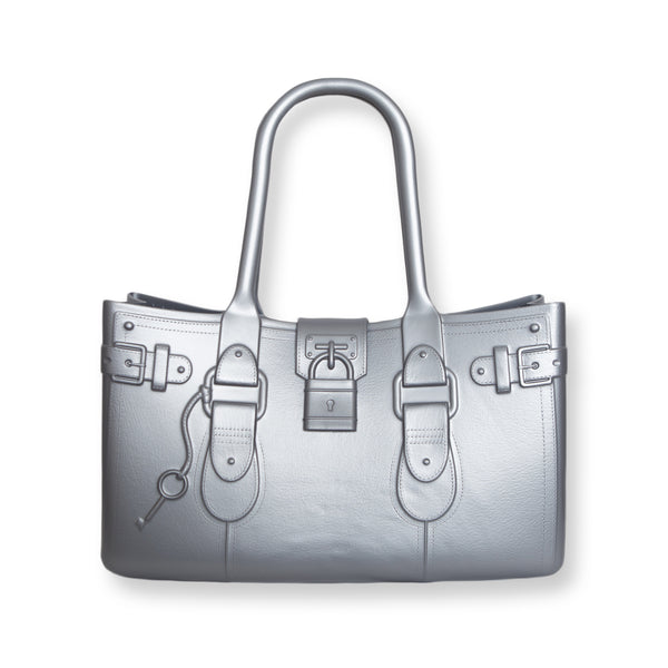 Model M. Platinum - Silver Tote Accessory (front view) Great Bag Co. | A Robert Verdi Project #FashionFlex #GreatBag