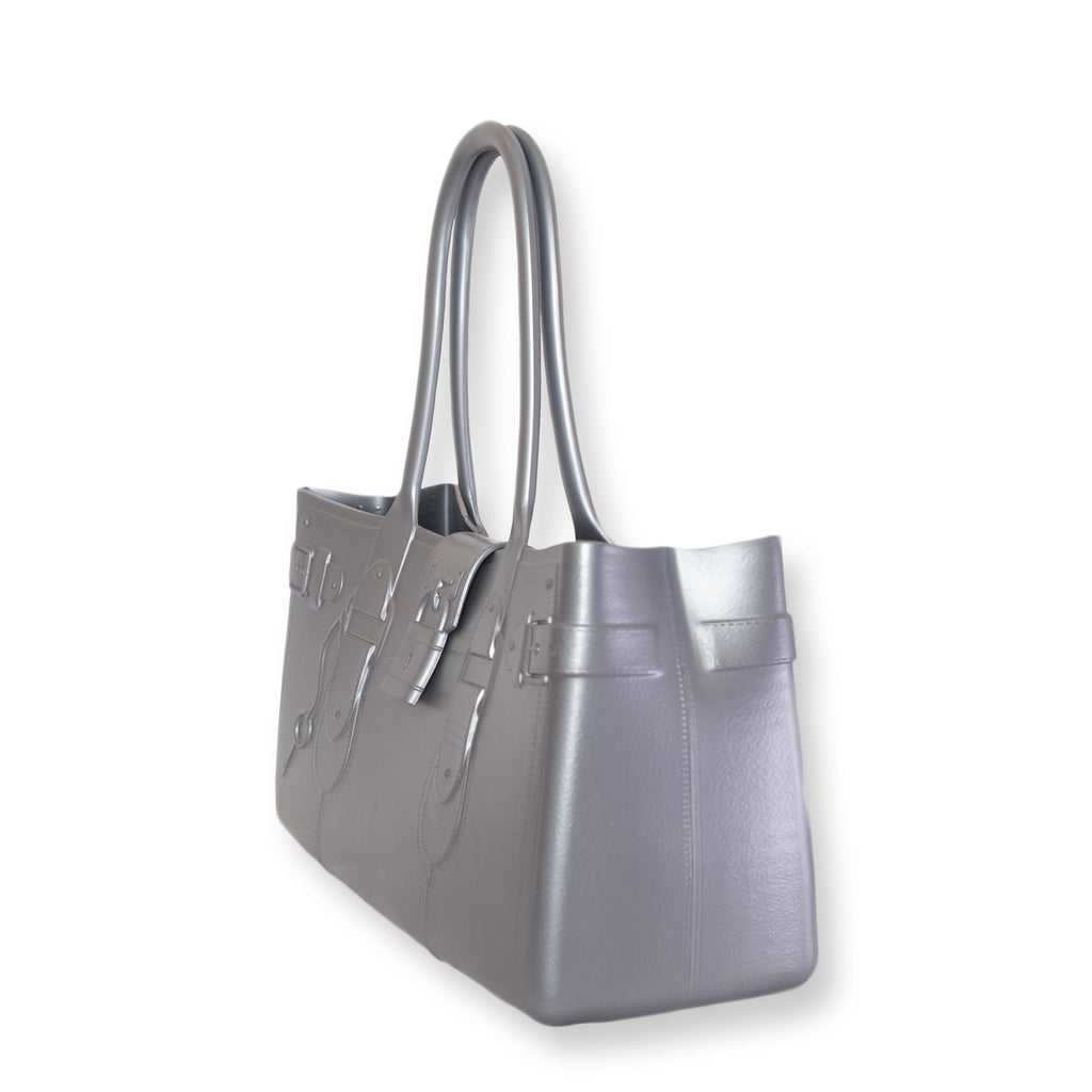 Model M. Platinum - Silver Tote Accessory (side view) Great Bag Co. | A Robert Verdi Project #FashionFlex #GreatBag