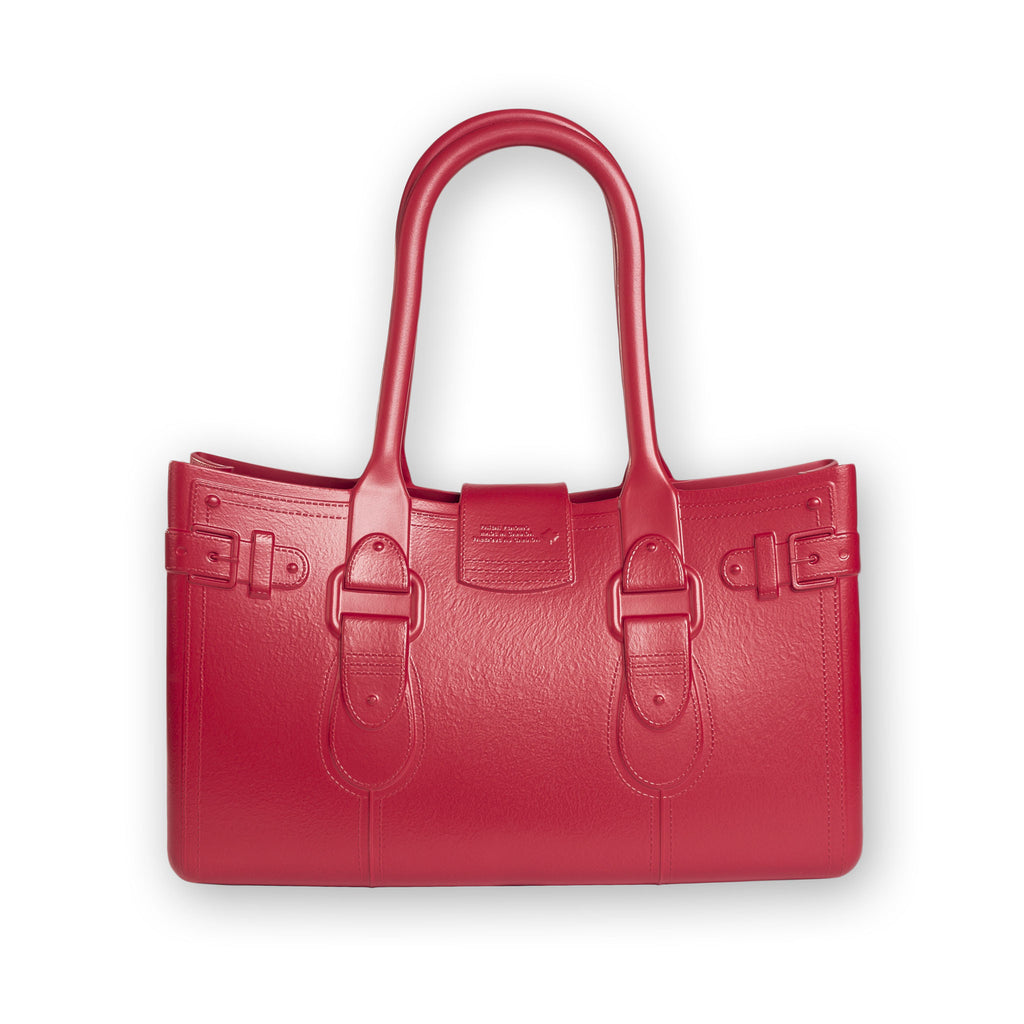 Model M. Ruby - Red Tote Accessory (back view) Great Bag Co. | A Robert Verdi Project #FashionFlex #GreatBag