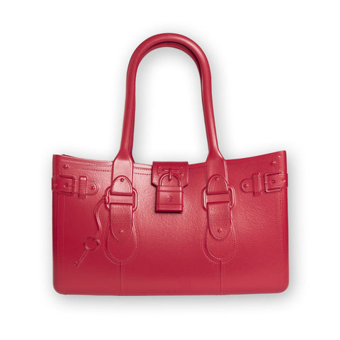 Model M. Ruby - Red Tote Accessory (front view) Great Bag Co. | A Robert Verdi Project #FashionFlex #GreatBag