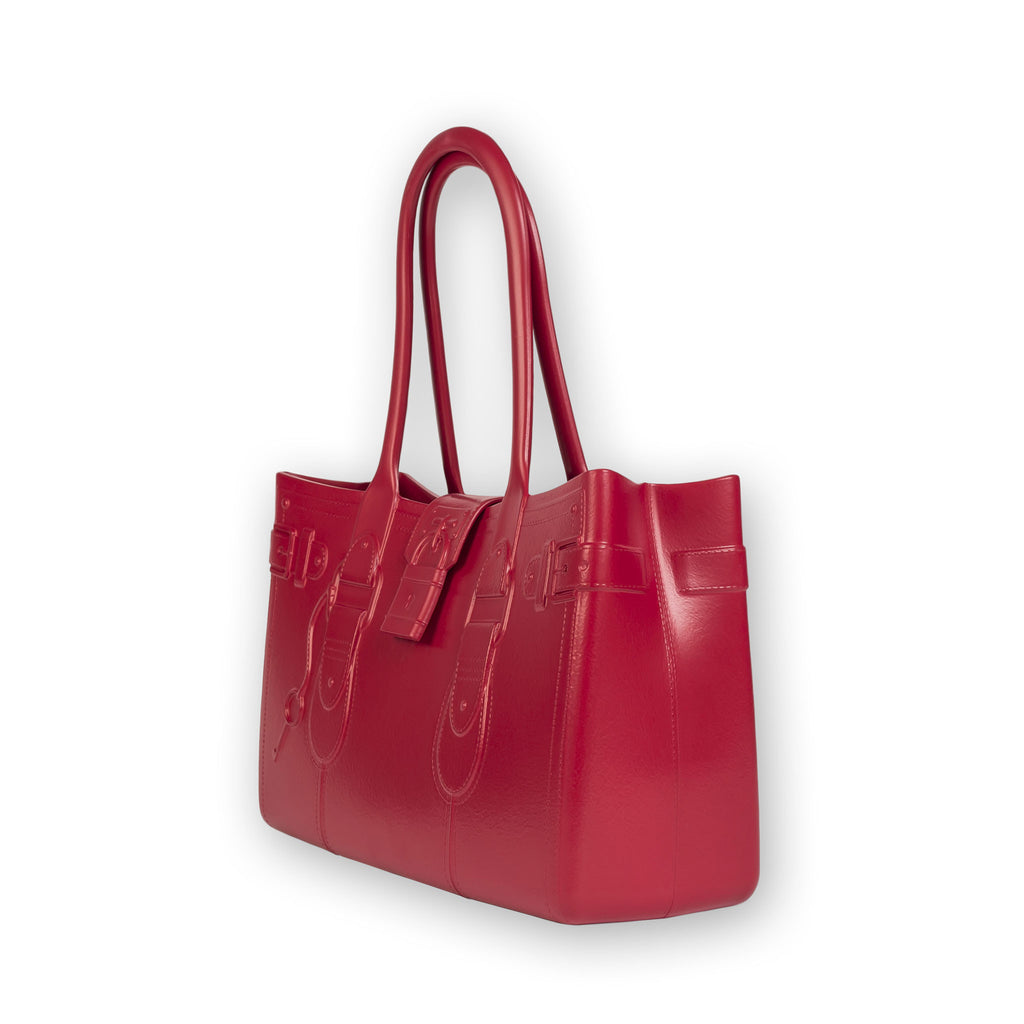 Model M. Ruby - Red Tote Accessory (side view) Great Bag Co. | A Robert Verdi Project #FashionFlex #GreatBag