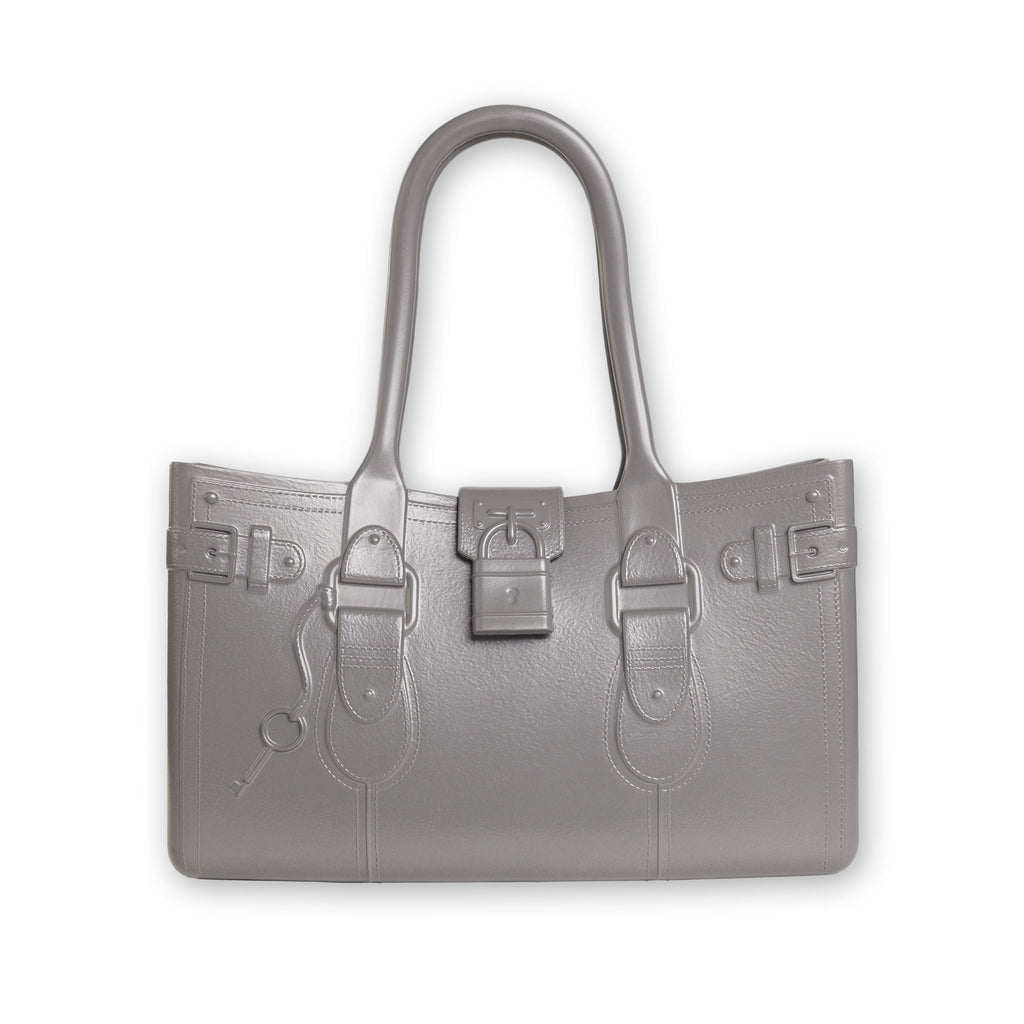 Model M. Steel - Grey Gray Tote Accessory (front view) Great Bag Co. | A Robert Verdi Project #FashionFlex #GreatBag