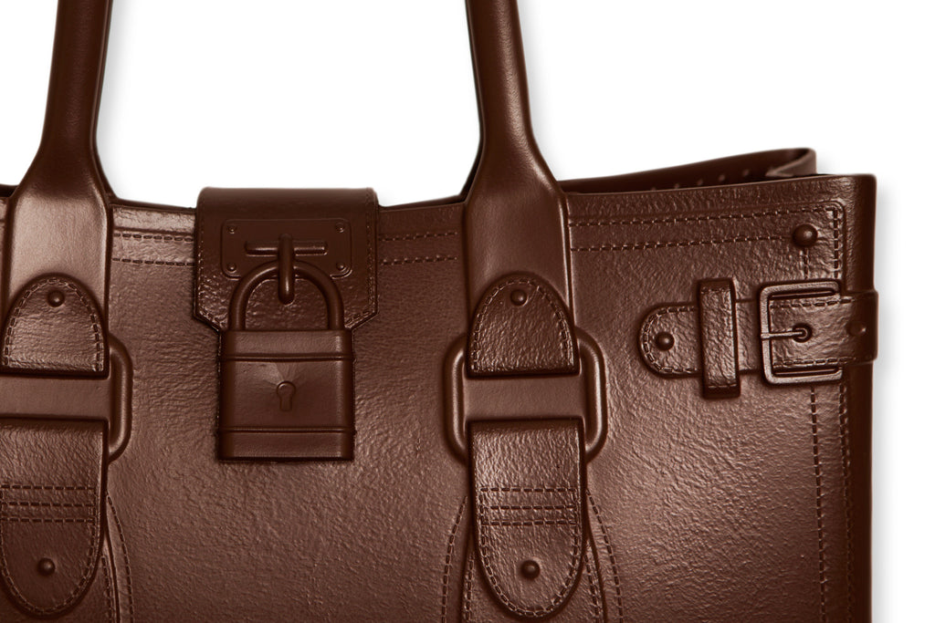 Model M. Smokey Quartz - Chocolate Brown Tote Accessory (detail view) Great Bag Co. | A Robert Verdi Project #FashionFlex #GreatBag