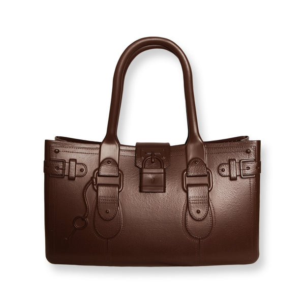 Model M. Smokey Quartz - Chocolate Brown Tote Accessory (front view) Great Bag Co. | A Robert Verdi Project #FashionFlex #GreatBag