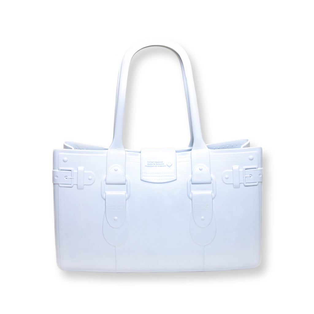Model M. Diamond - White Tote Accessory (back view) Great Bag Co. | A Robert Verdi Project #FashionFlex #GreatBag