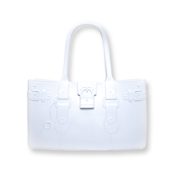 Model M. Diamond - White Tote Accessory (front view) Great Bag Co. | A Robert Verdi Project #FashionFlex #GreatBag