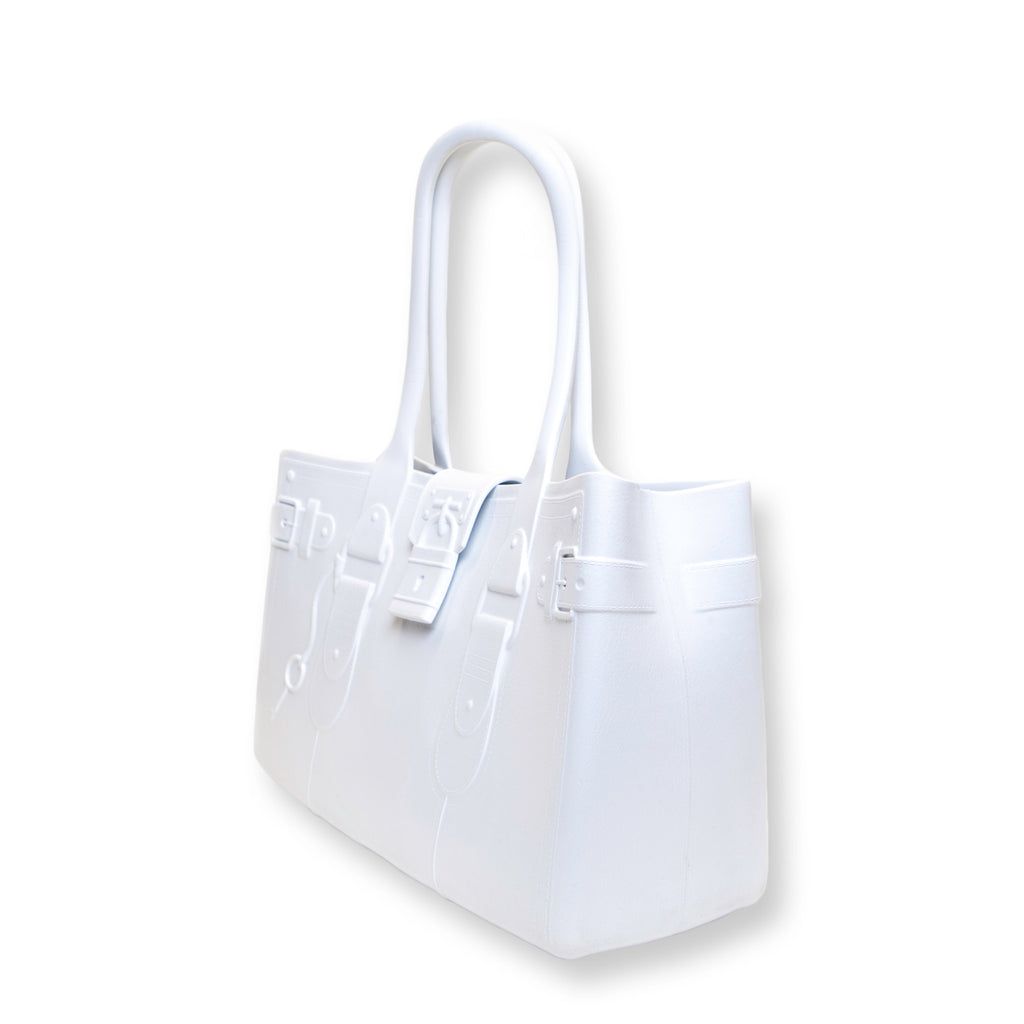 Model M. Diamond - White Tote Accessory (side view) Great Bag Co. | A Robert Verdi Project #FashionFlex #GreatBag