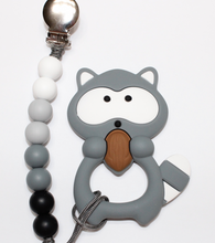 Load image into Gallery viewer, Racoon Teether + Clip Set