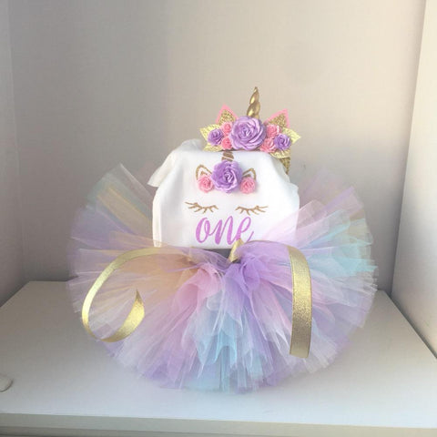 1 Year Girl Baby Birthday Dress Romper+Tutu Dress+Headband Newborn Clothes 12Months Christening Gown Toddler Unicorn Dress