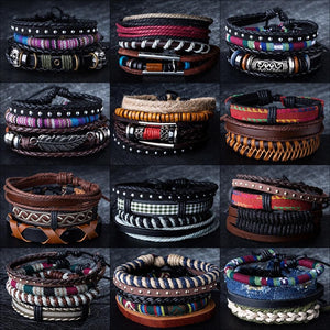 12 Style Metal Leather Bracelets Men Jewelry Vintage Classic Retro Plant Charm Bracelet  Male Jewelry