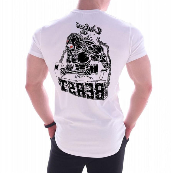 Mens Bodybuilding Skinny Print T shirt Gyms Fitness Workout T-shirt Male Summer Casual Cotton Tees Tops Crossfit Brand Clothing