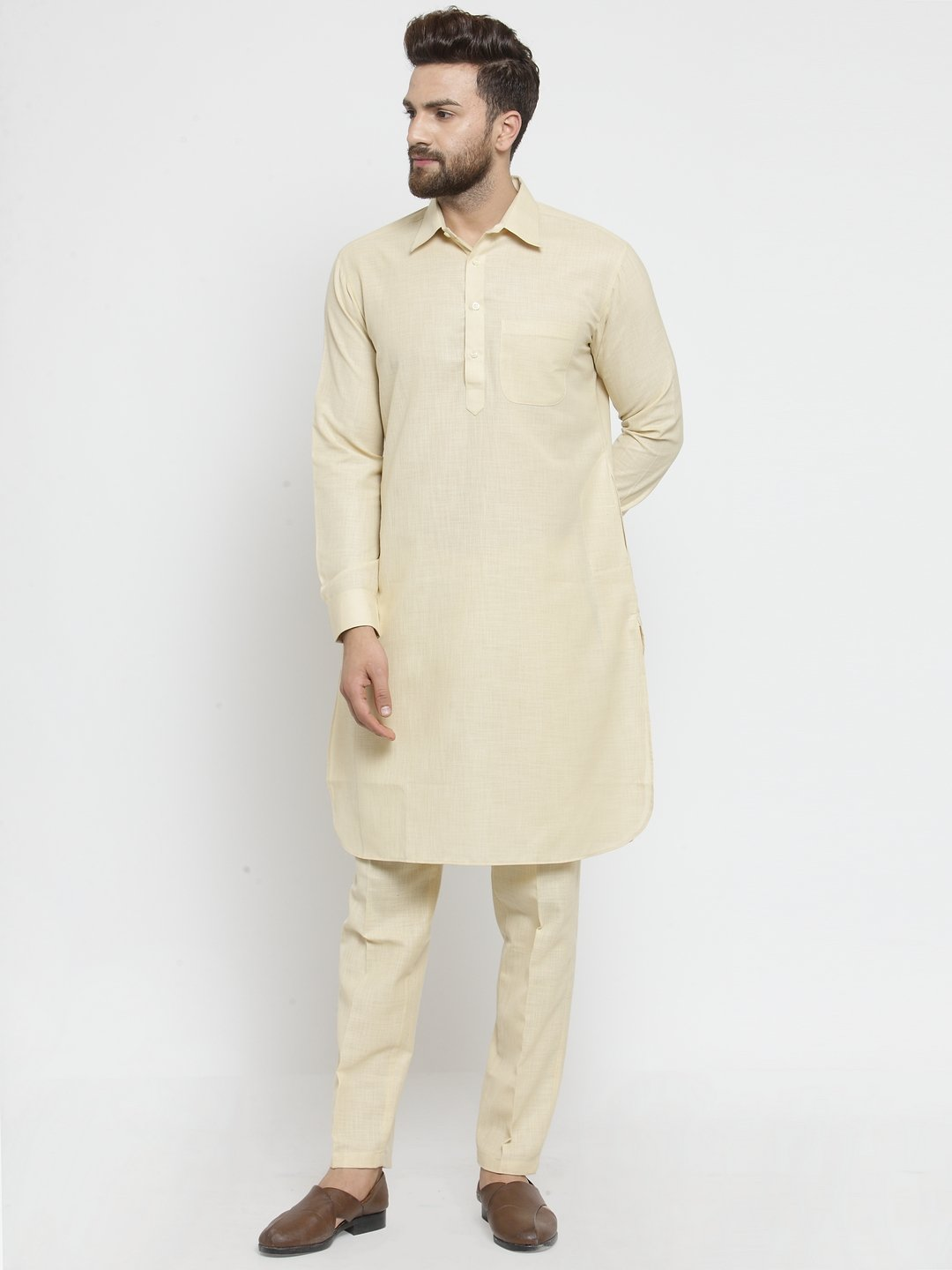 Designer Beige Pathani Lenin Kurta with Pants for a Royal look by TREEMODA