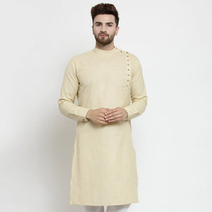 beige linen kurta for men