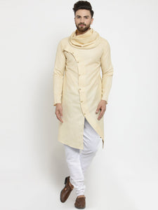Beige Kurta and Pajama for men | Designer Full Sleeve Linen Kurta and Churidar Pajama Set For Men