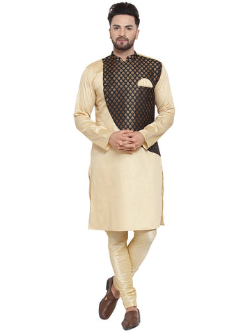 Brocade Silk Beige and Black Kurta With Churidar Pajama Set