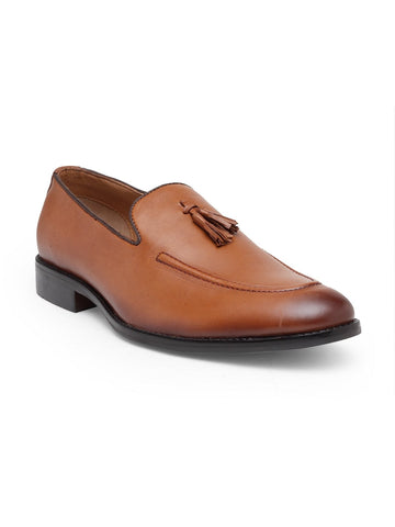 Treemoda Men Tan Solid Formal Leather Slip-on Shoes