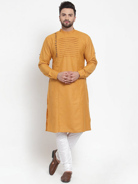 Designer Mustard Yellow Kurta and Pajama for men | Designer Full Sleeve Liner Linen Kurta and Churidar Pajama Set For Men