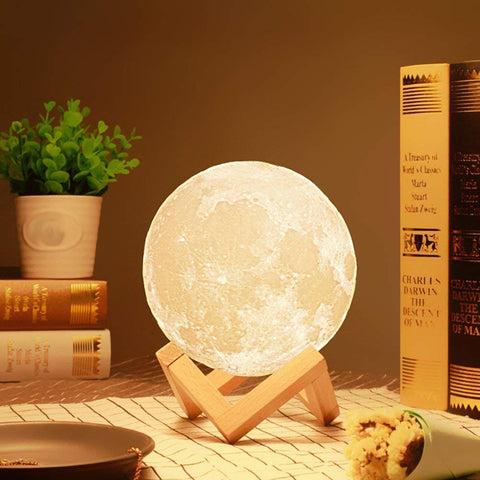 3D Moon Lamp 7 Colors Changing Sensor Touch Lamp with Wooden Stand (15CM)