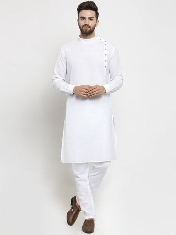white linen kurta pajama for men
