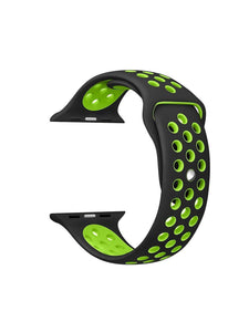 LULLABY IWATCH Strap with Ventilation Holes Silicon Strap Black & Green