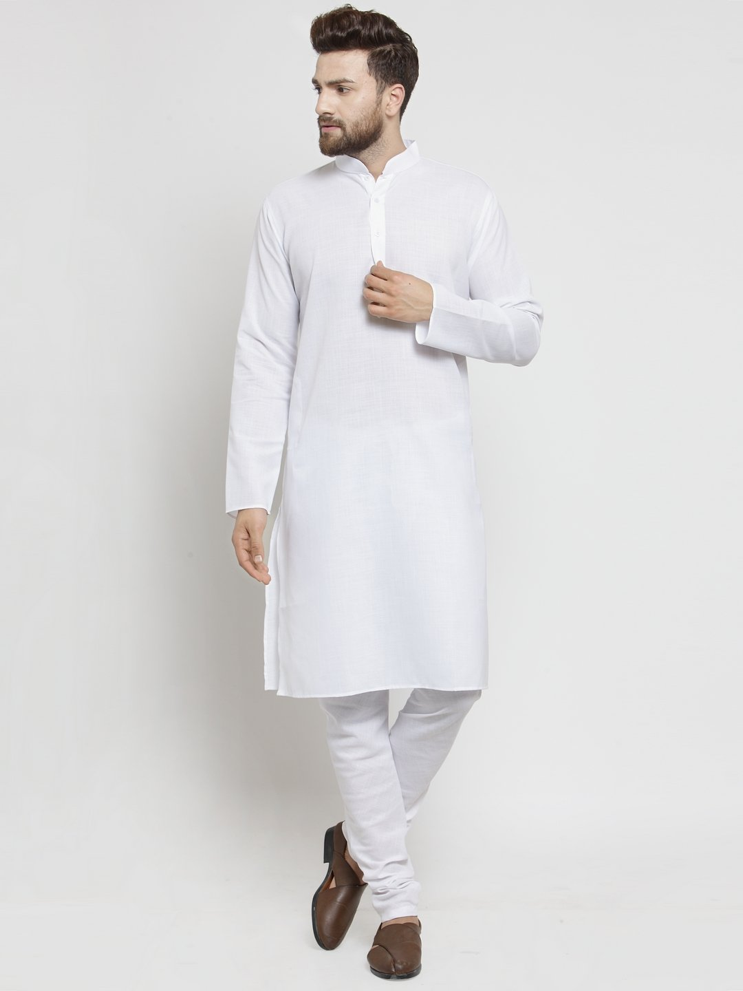 Plain Linen Kurta With Churidar Pajama Set in White