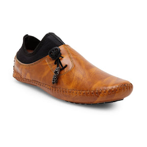 Treemoda Tan Brown Solid Loafers For Men