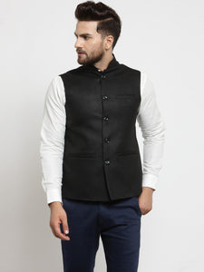 Men Black Solid Nehru Jacket By Treemoda