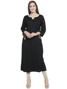 Women's Straight Kurti in Black Colour with Golden side Button in Crepe Fabric By Treemoda