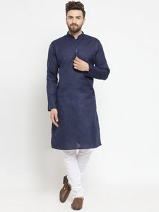 Plain Linen Kurta With Churidar Pajama Set in Blue