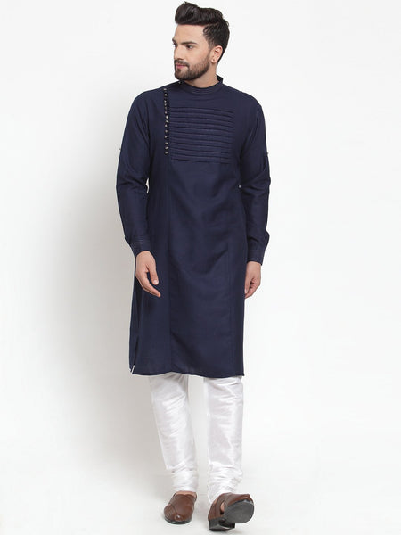 Designer Navy Blue Kurta and Pajama for men | Designer Full Sleeve Liner Linen Kurta and Churidar Pajama Set For Men