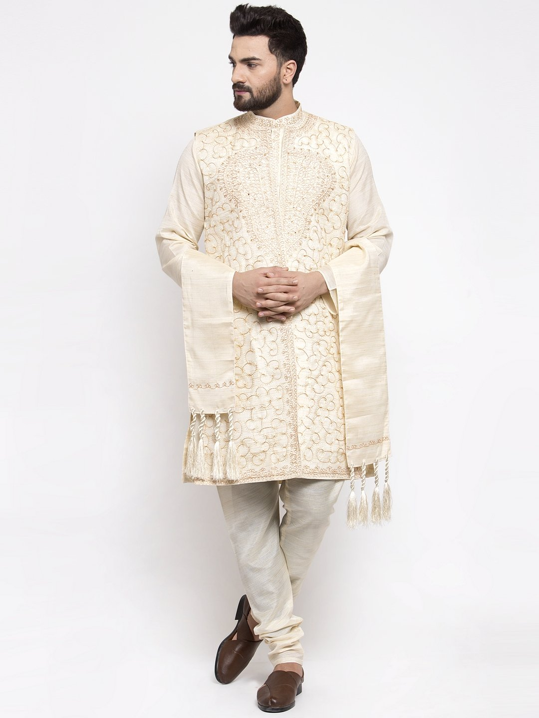 Men's White Embroidered Kurta Pajama, Jacket, and Scarf Set
