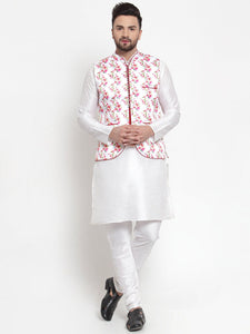 Treemoda Men's White Kurta Matching Pants With Ethnic Nehru Jacket