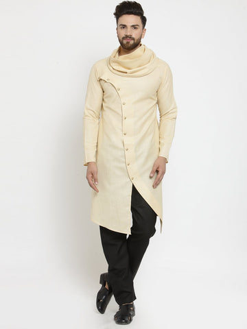 Beige Kurta and Pajama for men | Designer Full Sleeve Linen Kurta and Black Aligarh Pajama Set For Men