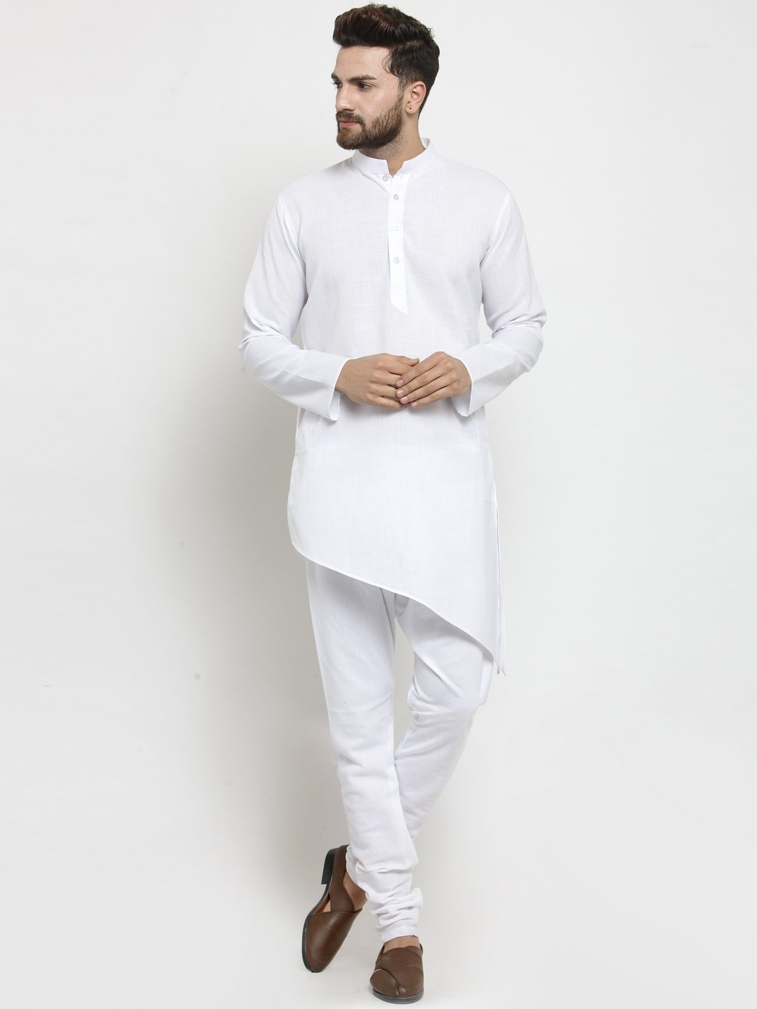 Designer White Linen Kurta With Churidar Pajama For Men By Treemoda