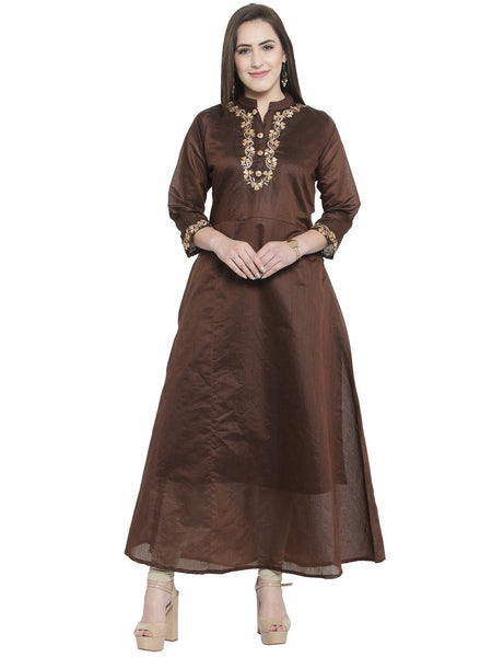 Women's Straight Long Kurti in Brown Colour  in Crepe Fabric By Treemoda
