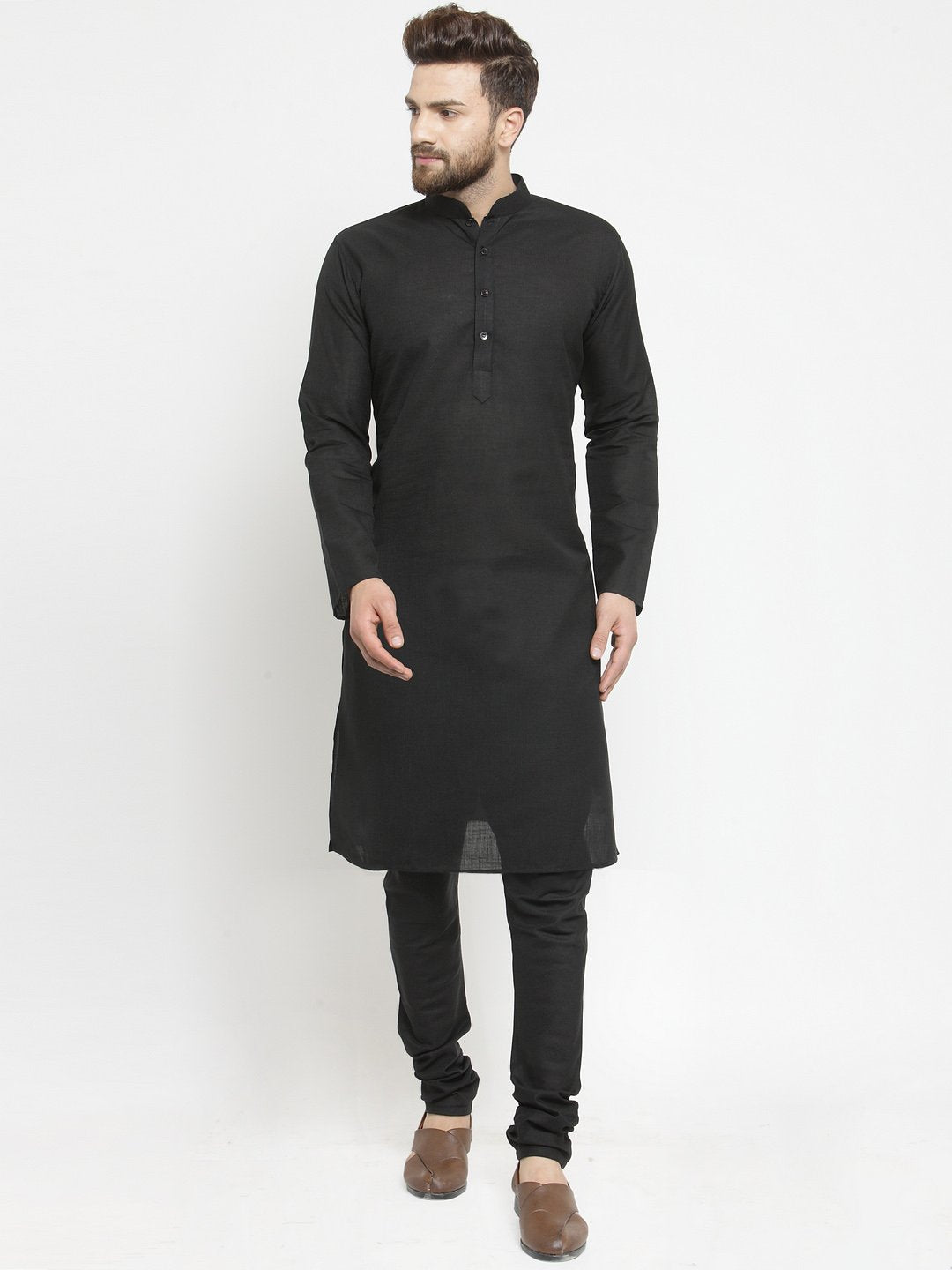 Plain Linen Kurta With Black Churidar Pajama Set in Black