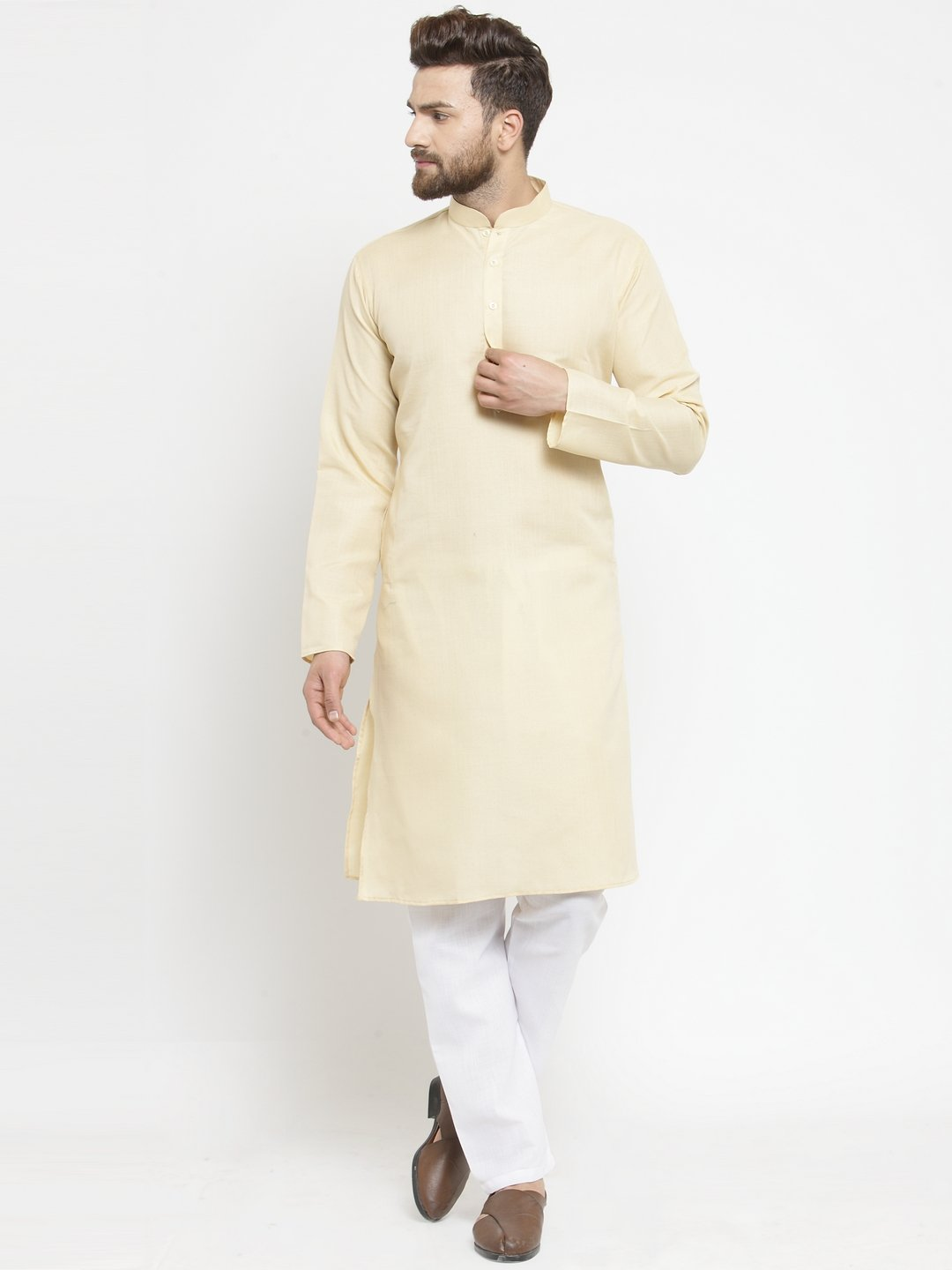 Plain Linen Kurta With Aligarh Pajama Set in Beige