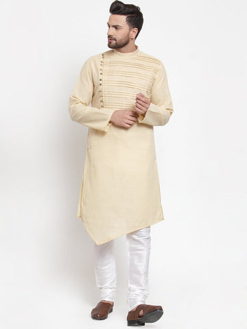 Designer Beige Kurta and Pajama for men | Designer Full Sleeve Liner Linen Kurta and Churidar Pajama Set For Men